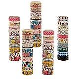 Ruikey 10 Rouleaux de Décoratifs Washi Tape,Ruban Adhésif de Décoration Colorée Masking Tape Scrapbooking pour Journal,Album 1.5CM*2M (Couleur aléatoire)