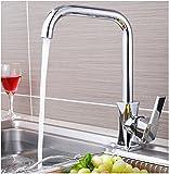 Küchen-Mischbatterie GQLB Moderne Edelstahl heißes und kaltes Wasser Mischbatterie Waschbecken Wasserhahn Küche Waschbecken Waschbecken Wasserhahn Tippen mit Drehen des Auswurfkrümmers
