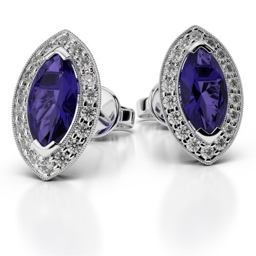 Or blanc/or/Rose/Jaune/Or/Platine forme marquise Tanzanite et Diamant Boucles d'oreilles ager-1069-vsgh