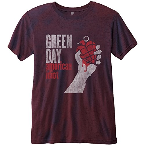 Green Day T Shirt American Idiot Vintage Nue offiziell Herren Rot 2-tone Burnout - Hat Green Day