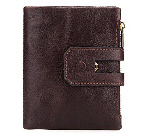 ZGJQ Mens Wallet RFID Blocking Slim Bifold Brieftasche aus Echtem Leder Minimalistischen Front Pocket Wallets für Männer mit Geld-Clip Herren Geschenk-Box (Farbe : Braun) -