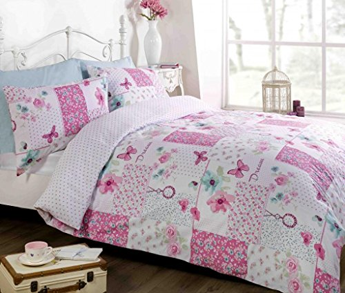 PINK REVERSIBLE PATCHWORK DUVET COVER Butterflies, Flowers, Reverse Polka Dots. SINGLE BED SIZE DUVET COVER. By Bedding Heaven