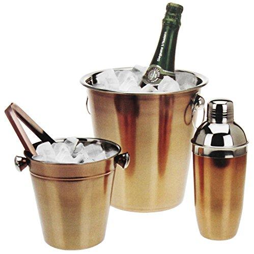 4tlg. Cocktail Set mit Shaker, Eimer für Eiswürfel und Zange Silber/Bronze