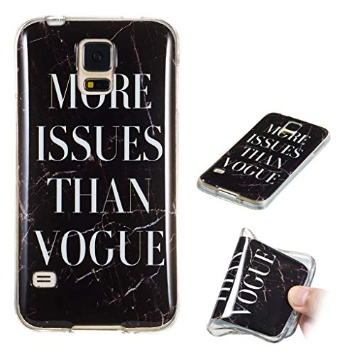 Yunbaozi Marmor Hülle für Samsung Galaxy S5 Schlank Weich Gummi Case Stoßstange Löschen Matte Drucken Natürliche Textur Anti-Scratch Shock Geometrische Muster, Text Schwarzer Marmor