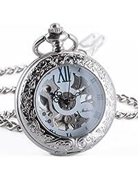 ManChDa Reloj de bolsillo mecánico grabada plata del Medio cazador Lupa Azul Numerales Romanos