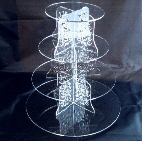 Vier Ebenen klar Acryl Runde Schmetterlinge Hochzeit und Party Cake Stand Größe 150mm 190mm 240mm 285mm Standhöhe 300mm Zoll: 15,2cm 19,1cm 22,9cm 27,9cm Acryl-schmetterling-kuchen-stand