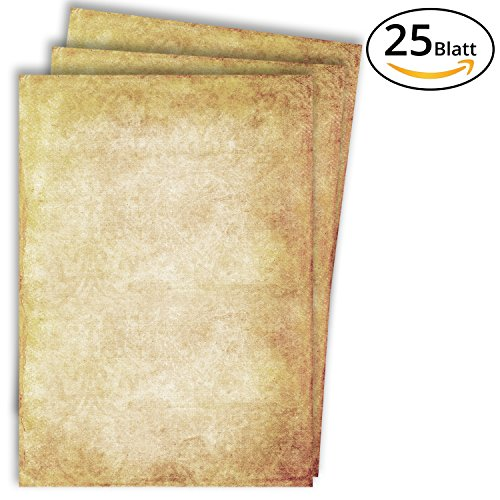 Briefpapier Vintage / 25 Blatt / DIN A4 / 100g / beidseitig bedrucktes Motivbriefpapier in premium Qualität – von The Creators