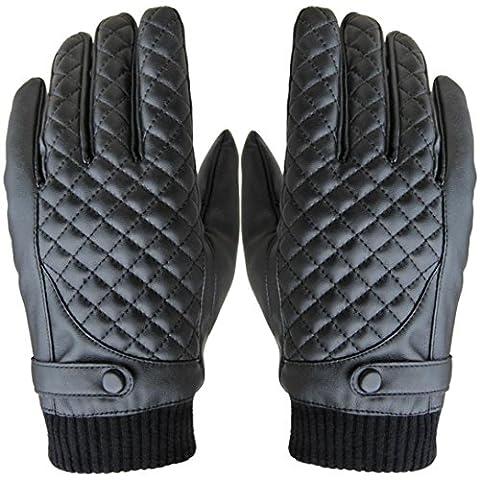 Tefamore Hommes Thermal hiver Moto Sports Cuir Gants écran tactile