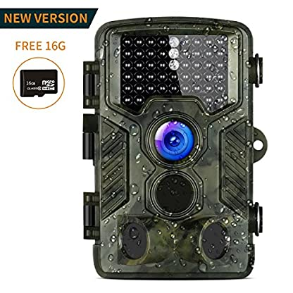 Wildlife Camera, Aidodo 1080P HD Trail Camera 16 MP Surveillance Camera with 3 Zone Infrared Sensor IP56 Waterproof, 82ft 25m 120°Wide Angle Night Vision For Game & Hunting