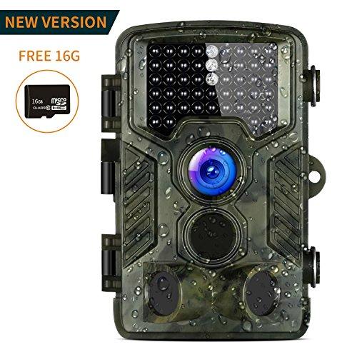 Aidodo Wildkamera Fotofalle 16MP Wildkameras mit Handy Überwachung Infrarot 1080P HD mit 120 Grad, 49 IR LEDs Nachtsicht Wasserdichte