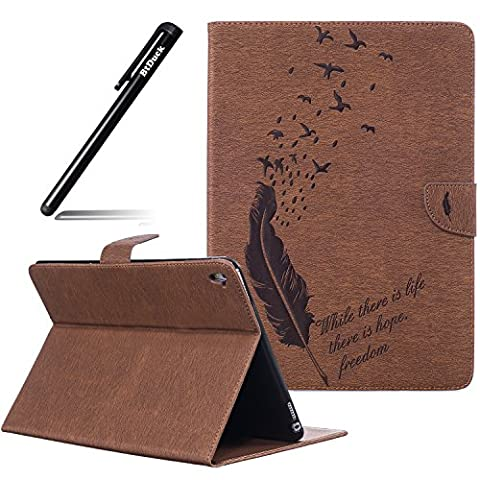 BtDuck Cover For Apple iPad Pro 9.7 inch,Suitable For Journalists Embossed Quill Pen Feather Birdie Retro Notebook Coffee Background Solid color Leather Case Practical Fashionable The New 3D PU Leather Magnetic Shell Flip Folio Book Style Version with Built-in Stand and Front / Back Protection Slim-Fit iPad Smart Case Oyster Card ( Travel Card Bus Pass ) Holder Slots Pocket Kickstand Function + 1 * Black Stylus Pen Black