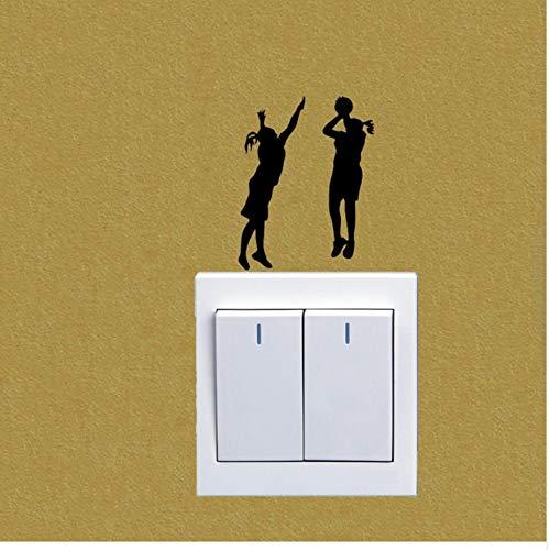 WFYY 3pcs Wandaufkleber Zwei Mädchen, die Basketball-Vinyl-Wandabziehbilder Spielen