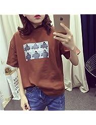 RYCJ-Camisa Short Sleeved Camisa De Vestido De La Manga Del Color Flojo Coreano Del Encanto De Harajuku Medio M Fucking Marrón
