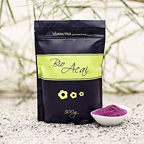 VivaNutria, 500g BIO Acai Pulver, Acaipulver ohne Zusätze, Acaibeere, Beerenpulver für Smoothies, Antioxidantien, Superfood, kontrollierter Anbau, laborgeprüft, schonende Verarbeitung, Rohkostqualität
