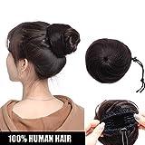 Extension Chignon Capelli Veri Clip Elastico 100% Human Hair Lisci con 2 Clips Hair Bun Coda di Cavallo Updo Effetto Naturale Voluminoso 32g #1B Nero Naturale
