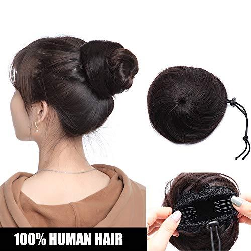 Extension chignon capelli veri clip elastico 100% human hair lisci con 2 clips hair bun coda di cavallo updo effetto naturale voluminoso 30g #1b nero naturale