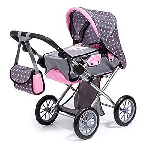 Bayer Design- Cochecito City Star, Plegable, con Bolsa, Moderno, para muñecas de hasta 46 cm, Color gris, rosa con hada (13666AA)