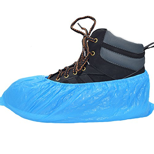 100 Premium disposable shoe covers / overshoes. Strong floor, carpet, shoe protectors CPE 3.5g x 100. Embossed. Medium to heavy use
