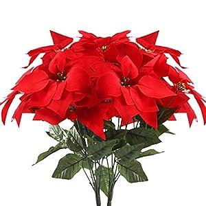 HUAESIN 2pcs Flores Artificiales Navidad Flor Pascua Artificial Poinsettia Falsa Pascuero Ramo Flores Navideñas Rojas…