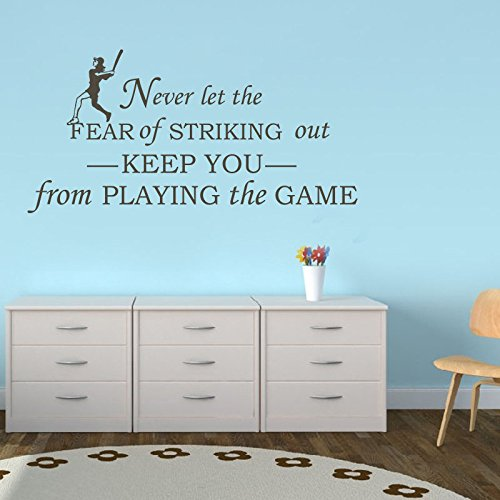 mairgwall Mädchen Raum saying-never Let the fear of striking out keep you from playing the game – Sport Vinyl Baseball Kids Room Decor, Vinyl, Customized-colors, 27