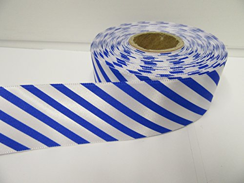 2Meter x 38mm Candy Stripe Band, Barber Shop Streifen, diagonal 38mm (Royal Blau)