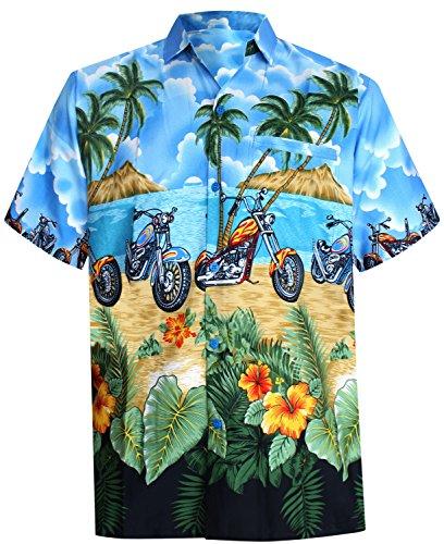LA-LEELA-Shirt-camisa-hawaiana-Hombre-XS-5XL-Manga-corta-Delante-de-bolsillo-Impresin-hawaiana-casual-Regular-Fit-Camisa-de-Hawaii-Azul-azul-brillante-XS-Pecho-Contorno-in-cms-91-96