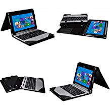 Mama Mouth 2-en-1 Portafolio de Cuero Sintético con Soporte y Base de Teclado desmontable para Acer Aspire Switch 10 E 10E SW3-013 Tablet,Negro