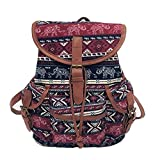 Frauen Vintage Canvas Tasche VENMO National Wind Rucksack/Reisetasche Schultasche/Mädchen Rucksack/Canvas/Hand gewebt/Mini/National Wind/Casual/Cute/Mini/Kunst/College Wind/Reisen (Multicolor B)