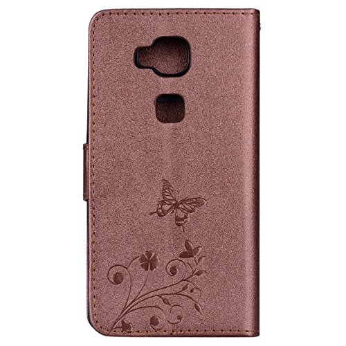 Surakey Coque Huawei Honor 5X,Fleur de Papillon Motif Cristal Glitter Strass PU Cuir Case à rabat Coque Portefeuille Housse Flip Wallet Case Magnétique Étui pour Huawei Honor 5X, Marron