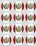 12 Peruanisch peru Flagge reispapier märchen / cup cake 40mm toppers vorgestanzt dekoration