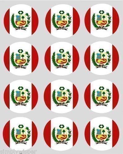 12 péruvien Pérou drapeau papier de riz Fée / petits gâteaux 40mm Toppers pré découpé décoration