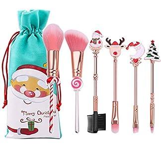 INTVN Juego de pinceles de maquillaje, 6 unidades, para Navidad, sombra de ojos, maquillaje en polvo, base, colorete, sombra de ojos, brocha, gran regalo para novia y madre