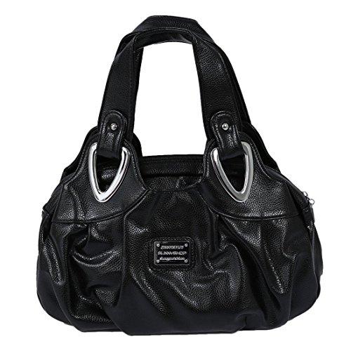 TOOGOO(R) Adatti la borsa di cuoio delle donne PU Bag Tote Bag Borse di stampa Satchel -Dream cartamo + Handstrap bianco Nero opaco