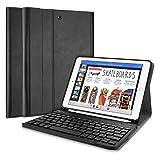 ProCase iPad 9.7 Bluetooth Keyboard case, Ultradünn Klappen Schutzhülle Smart Cover mit Magnetisch Abnehmbarer Kabellos deutsch Bluetooth Tastatur(QWERTZ) für Apple iPad 9.7 Zoll 2018/2017 –Schwarz