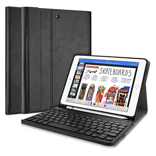 Magnetische Klappe (ProCase iPad 9.7 Bluetooth Keyboard case, Ultradünn Klappen Schutzhülle Smart Cover mit Magnetisch Abnehmbarer Kabellos deutsch Bluetooth Tastatur(QWERTZ) für Apple iPad 9.7 Zoll 2018/2017 -Schwarz)