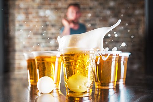 Party-Pong-Hochwertiges-Beer-Pong-Trinkspiel-mit-24-Plastik-Champagner-und-Bierglsern-und-4-Ping-Pong-Bllen
