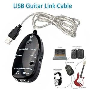 Foxnovo® Cable de liaison de guitare USB pour PC / MAC adaptateur d''enregistrement Audio (noir)