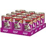 Whiskas 1+ Katzenfutter Rind & Leber in Sauce, 12 Dosen (12 x 400 g)