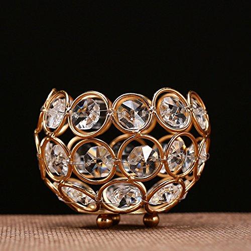 Yq whjb cristallo candelabri,luce del tè per matrimonio tavolino decorativo 3 pollici di diametro portacandele(oro)