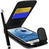 SupergetS® Samsung Galaxy S3 I9300 Black Premier Top Flip Case Covers, Screen Protector , Touch Sceen Stylus and Polishing Cloth