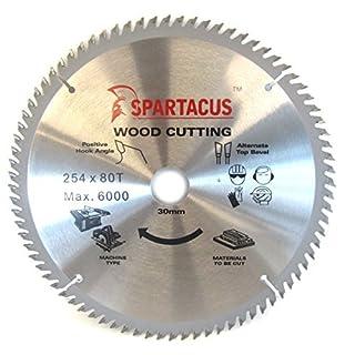 Spartacus 254mm Diameter x 80 Teeth x 30mm Bore Wood Cutting Circular Saw Blade Fits Bosch GCM10SD