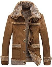 74e32baeb04 Men s Winter Thick Warm Vintage Faux Fur Coat Parka Bomber Flight Suede  Sheepskin Leather Jacket Overcoat