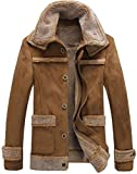 JIINN Hommes Hiver rétro Fashion en cuir véritable shearling Veste en daim bomber style Cachemire doublé Manteau parka épaissir chaud Col en fourrure Blousons (FR/JK1162 Café, EU/FR Large)
