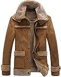 Hommes Hiver rétro Fashion en Cuir véritable Shearling Veste en Daim Bomber Style...
