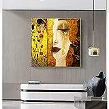 Chihie Arte Gustav Klimt Lacrime Dorate e Bacio Dipinti su Tela Arte murale Stampate Quadri Famosi Dipinti Arte Classica Decor 50cm x50cm Senza Cornice