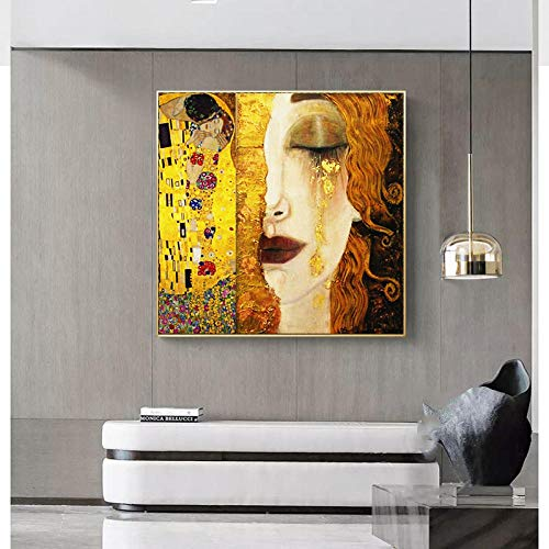 Hsln art gustav klimt golden tears and kiss canvas paintings wall art printed pictures famous painting classical art decor- 70x70cm no frame