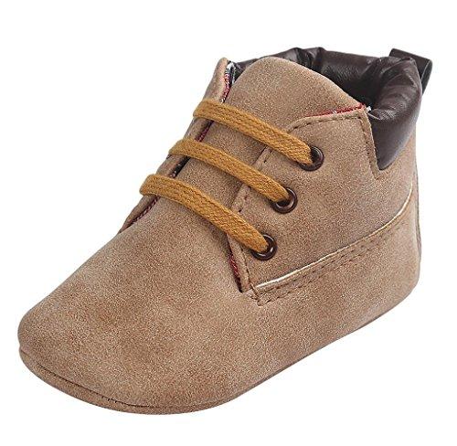 Elyseesen Chaussures en cuir sans couture pour bébé Toddler KakiB