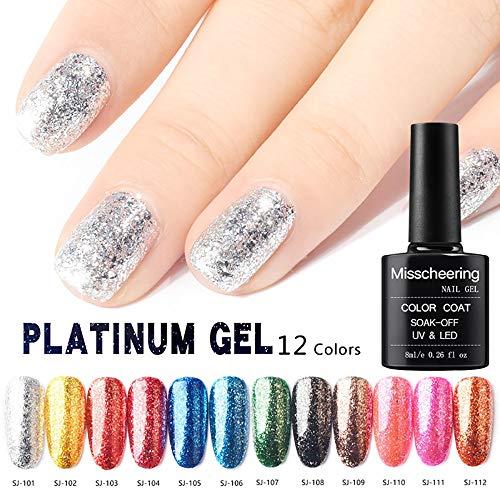 kashyk Gel-Nagellack, Maniküre-Diamant-Glitter-Nagellack, Pailletten-Gel-Nagellack, reiche Farbe, glatter Spiegelnagellack ()