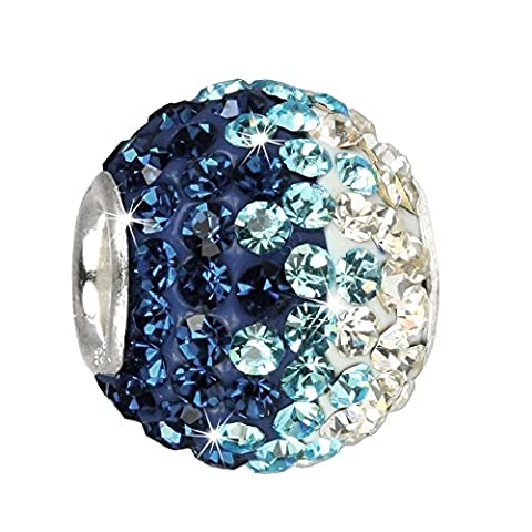SilberDream Glitzer Bead Swarovski Kristalle türkis ICE SilberDream Silber Beads für Bettelarmbänder GSB006