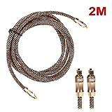 Optisches Audiokabel, Miya 2m Digitales Optisches Audiokabel Toslink Optisches Kabel OD6.0 Toslink Stecker auf Toslink Stecker 24K Vergoldet für CD DVD-A02